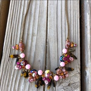 LOVE! J Crew Pink Crystal Beaded Tortoise Necklace